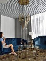 Moden Lüks LED Pirinç Kolye Işık Altın Metal Süspansiyon Avize Tavan Lambası Ev Oturma Odası Fikstürü CA003