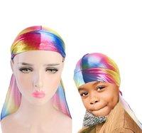 2 adet / grup çocuklar lazer durag Unisex Ipeksi Durag Uzun Kuyruk Ve erkekler Için Geniş Dalgalar Renkli Geniş Ebeveyn-çocuk k ...