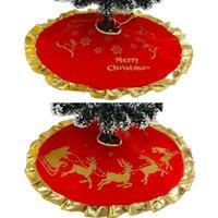 Decoraciones de Navidad 90 cm Red Elk Tree Falda Carpeta Golden Ruffle Edge Cover Delantales para Navidad Año Festival Festival Decoración