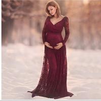 Borgoña encaje más tamaño manga larga con cuello con cuello elegante maternidad embarazada vestidos de noche sexy barato largo fiesta de fiesta vestido de fiesta 2019