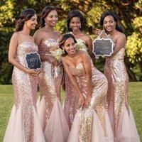 Vestidos de dama de honor de lentejuelas de oro rosa Long Sweetheart 2020 Vestido de invitado de boda africano barato Primavera Negro Chica fiesta Vestido de noche Vestidos de