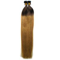 Hot T6 / 27 braunes und blondes Ombre peruanisches gerades reines Haar 100g zweifarbig ombre vorgebundener Keratin-Nagel F TIP Haarverlängerungen
