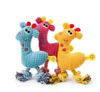 Köpek Chew Squeak Oyuncaklar Zürafa Polar Halat Interaktif Oyuncak Hayvanlar Pet Köpekler için Peluş Köpek Geyik Kedi Kedi Cızırtılı Oyuncak GB993