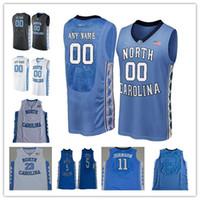 Personalizado North Carolina Tar Heels Basquete de faculdade Qualquer nome número azul preto branco 2 Cole Anthony Carter Michael Unch Men Jerseys S-3XL