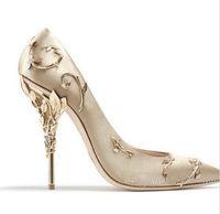 Ralph Russo pembe altın bordo Rahat Tasarımcı Düğün Gelin Ayakkabıları Ipek leke eden Topuklu Ayakkabı Düğün Akşam Parti Balo ayakkab ...