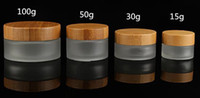 100g 100ml glass jar with bamboo lid frosted clear glass cos...