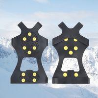 10 Acciaio Borchie Ice Tacchetti Anti-Skid Neve Ice Climbing Shoe Spikes Grips Ramponi morsetti Overshoes Climbing Gripper Gifts RRA2243