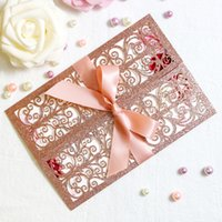 Gorgeous Rose Gold Glitter Laser Cut Invitation Cards With R...