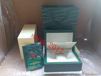 Новый стиль Марка зеленый часы оригинальный деревянный футляр документы подарочные часы коробки кожаный мешок карты для Rolex футляр часы футляр 12368.