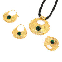 Set di gioielli in pietra etiope Orecchini pendenti con collane Orecchini Etiopia in oro colore Africa Set da sposa sposa Eritrea