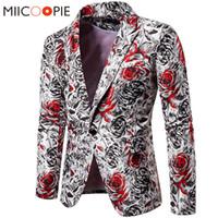 Lüks Erkekler Ceket Çiçek Blazer Masculino Gül Baskılı Abiye 2019 Casual Blazer Erkekler Tek Düğme Dar Kesim Ceket