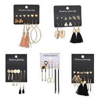 5 Design Lange Kwastje Stud Oorbellen Set voor Vrouwen Meisje Nieuwe Bohemen Bloem Hart Earring Stof Vrouwelijke Mode E397