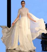 Bianco sexy una linea vestiti da sera con Wrap a collo alto con maniche lunghe paillettes e perline musulmano della celebrità di promenade del partito abiti