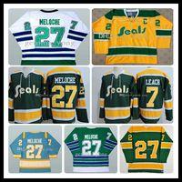 1970 retros dos homens costurado completa California Golden Seals Azul Verde Amarelo Branco Gilles Meloche 27 Reggie Leach 7 mais barato Hockey Jersey