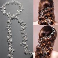 2019 Brauthochzeits-Kristallbrauthaarschmuck-Perlen-Blumen-Stirnband-handgemachte Haarband Korn-Dekoration-Haar-Kamm für Frauen