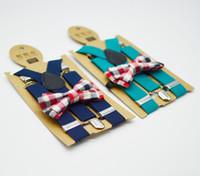 Moda Ragazzi bretelle stile enland suspender bambini Forma a Y regolabile fibbia liscia cinghie elastiche + plaid Archi cravatta 2 pz set Y2590
