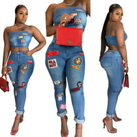 Cartoon Patch Jeans Set di due pezzi Fashion Strapped Straps Crop Top Jeans arricciati 2019 Nuove donne Sexy Night Club Suit Abiti casual