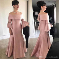 Modest Blush Pink Mermaid Mother of the Bride Dresses Off Sh...