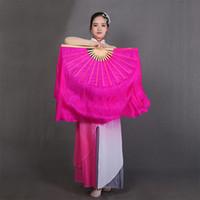 Stage Wear Chinese Silk Dancing Fan verlengde dubbelzijdige effen kleur Rose Red Adult Children Dance Performance Props