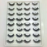 16 Pares Multipack 3D Mink Cabelo Macio Cílios Postiços Handmade Wispy Fofo Longo Lashes Natural Maquiagem Dos Olhos Ferramentas de 16 Pares Cílios Livro G800