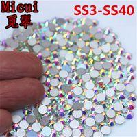 Micui SS3-SS40 AB Блеск Стразы Стекло-кристалл Плоской Задней Круглый Nail Art Stones Без Исправлений Стразы Кристаллы для DIY ZZ994