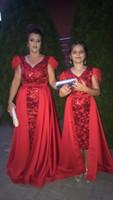 칼집 레드 스팽글 이브닝 드레스 긴 어머니와 딸 복장 꽃 소녀 드레스 2020 파티 댄스 파티 드레스 분리형 열차 ED02