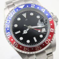 Роскошные высокое качество GMT синий красный безель мужская механическая нержавеющая сталь механизм с автоподзаводом спортивные мужские часы Наручные часы