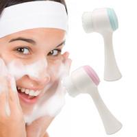 مزدوج جانبي Silicone تطهير الوجه فرشاة حجم محمول 3D تنظيف الوجه تدليك أداة