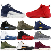 12 Herren Basketball-Schuhe Gymnastik Rot Winter Schwarz Michigan CNY Playoff International Flight Grippe-Spiel Michigan 12s Designer Sport Sneakers 7-13