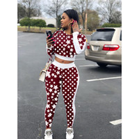 Wholesale polka dots pajama sets online - Women Star Polka Dot Print  Tracksuits Round Neck Long 23f6e1fad