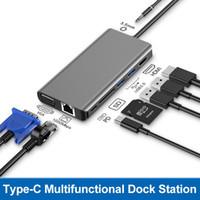 نوع C محطة لرسو السفن نوع لأجهزة الكمبيوتر المحمول أبل هواوي أيسر ديل سرعة عالية SD / TF قارئ بطاقة الدخول إلى الإنترنت والكمبيوتر المحمول وكابل الفيديو HD التكيف