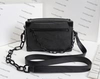Nuevo bolso del cuerpo de la cruz tronco de la caja del bolso de cuero genuino Mini Cubo de hombro de la moda bolsa bolsa Mujeres M44480 Negro flor simétrica