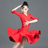 Stage Wear Girls Dance Latin Dress Dress Red Professione professionale per bambini Spalato Performance Suit Rumba CHA Samba Salsa DN5214