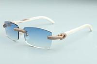 2020 새로운 남성과 여성 동일한 선글라스 전체 다이아몬드 안경 T3524012-25 럭셔리 국경없는 자연 백색 경적 무기 다이아몬드 프레임