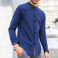 Zeeshant Hommes lin Chemises à manches longues style chinois mandarin col traditionnel Kung Fu Tang sociale Casual Shirt Marque Vêtements