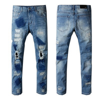 AMI Skinny Mens Designer Jeans Parches Distressed Skim Pants Ripped Slim Denim Motociclista Biker Hole Jeans