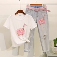 European Summer Hole Jeans Suits Women 2019 New Pearl Sequin...