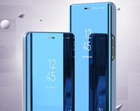 مرآة حالة الهاتف الذكي لهواوي P SMART 2021 P40 Lite Flip Kickder Case Cover for Huawei Mate40 Pro Nova 7
