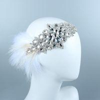 Gatsby White Feather Braut Stirnband Luxus Silber Kristall Perlen Edelstein handgemachte Braut Stirnband Strass Haarbänder Krone