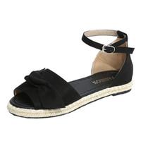 Sıcak Satış-MUQGEW Moda Katı Renk Flock Peep Toe Bow Düz Topuk Hasp Sandalet # 1211