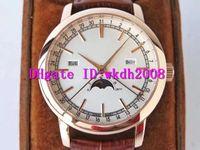 AI TRADITIONNELLE 4010T الرجال ووتش تاريخ يوم Moonphase ساعة اليد السويسرية 2460Q التلقائية الميكانيكية 28800 vph الياقوت روز 18K الذهب الساعات