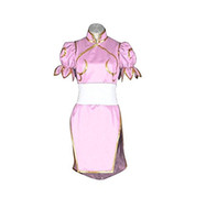 Costume da combattente di Street Fighter Chun Li Cosplay Rosa Cheongsam Superior Combat Dress