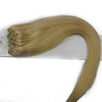 16-24 inch 100 Strands Real Hair Easy Loop Micro Ring Kralen Dames Hair Extensions Rechte Golf