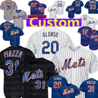 New York Custom Mets Jersey 20 Pete Alonso 48 Jacob deGrom 31 Mike Piazza 30 Conforto 9 Nimmo 1 Rosario 45 McGraw Baseball