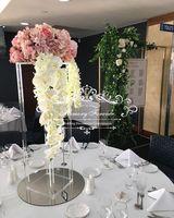 80см Высокий красивый свадебный центр Цветочные стенды столешницы Top Цветочная Рамка Рамка Металлические колонны Чистая ваза Декоративная центральная