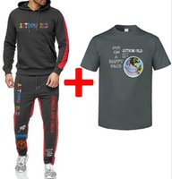 Travis Scott Pants Astroworld Tute Mens cappuccio pantaloni magliette 3pcs Suits Spring Summer Fashion Abiti