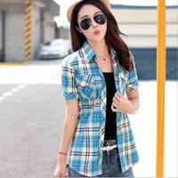 Student Sweet Plaid Shirts Pockets Stand Collar 100% Cotton ...