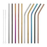 215 мм 304 из нержавеющей стали соломы прочный многоразовый металл 8,5-дюймовый изгиб и прямые соломинки для кружек 20 унций