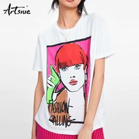 Artsnie Character Print Weiß Damen T Shirt Sommer 2019 O Neck Kurzarm Tops Weiblich Streetwear Casual Tee T-shirts Mujer Y19060601