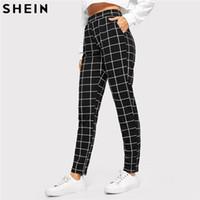 SHEIN Siyah Ekose Orta Bel Sıska Havuç Pantolon Sonbahar Kadın Rahat Slim Fit Dikey Kadın Kalem Streetwear Pantolon